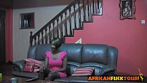 African chick talked into riding white cock on couch thumbnail