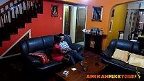African chick talked into riding white cock on couch Vorschaubild