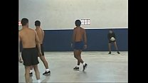 Two stupid young fair-haired volleyball players put a damper on five-a-side training and angry dudes gave those bitches a good lesson