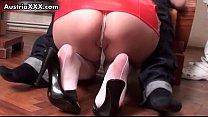 Sexy nurse Sarah Dark in white stockings