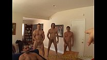 gangbang bitch sucking 4 big cocks cumshot on a...