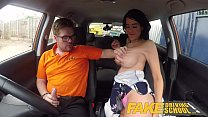 Fake Driving School Spunk covered pussy for bus...