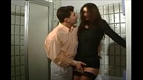 German hairy brunette in stockings fucked in th...