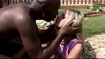 Young white slut banged by two black cocks outdoor preview image