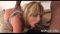 Passionate and horny ebony chick gets dick in all wet holes porn thumbnail