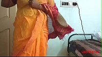 desi Indian  tamil aunty telugu aunty kannada aunty  malayalam aunty Kerala aunty hindi bhabhi horny cheating wife vanitha wearing saree showing big boobs and shaved pussy Aunty Changing Dress ready for party and Making Video preview image
