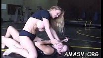 Delightful females enjoying lesbian smothering action