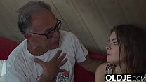 Sweet Teen Fucked By Old man She Swallows cum and deepthroats cock preview image