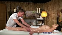 Massage Rooms Young natural tits brunette has leg shaking orgasm thumbnail