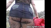 Image: Big butt English milf in bodystocking public ass