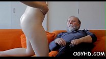 Horny young babe screwed by old lad's Thumb