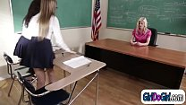 Lesbian teacher seduced by and gets licked by her students