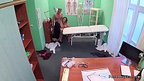 Doctor fucks nurse and patient in office