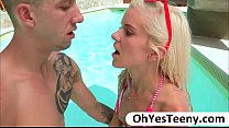 Image: Skinny teen Halle gets fucked by a big cock and gets facialized
