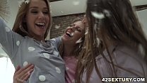 Pillow fight and lesbian anal sex pornhub video