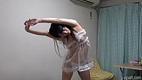 Glamorous Japanese girl lingerie and changing clothes