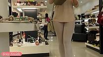 Jeny Smith white pantyhose flashing hidden cam