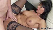 German MILF in Stockings Fuck with Young Teen w...
