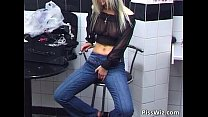 Public bathroom lesbian sex with two's Thumb