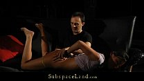 Muzzle gagged slave painful hot waxed and doggied