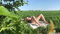 Beauty Came Sunbathe in Sun and Masturbate on Street