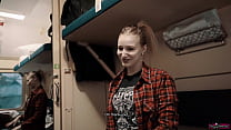 Girl Fellow Traveler Seduced Guy on the Train and Gave him Blowjob and Swallowed Sperm!