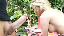 Caught Fucking Blonde Aubrey Addams Outdoor