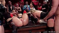 Two hot slaves suck and fuck in orgy preview image