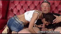 Shy amateur girl smokes a cigarette during casting Vorschaubild