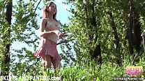 Farmer's daughter flashing her panties outdoors