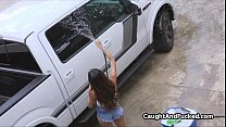 Carwash chick rides my cock