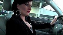 Woman shows panties & gives handjob while driving thumb