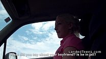 Teen fucks in pink panties in car thumbnail