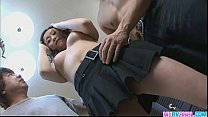 Image: Asian hottie Hitomi gets nasty with two fat salami