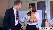 Tight student and busty teacher threeway with horny guy