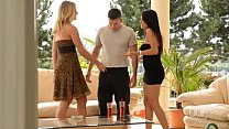 College sister Aida Sweet and Lucy Heart devour a cock outdoors thumbnail