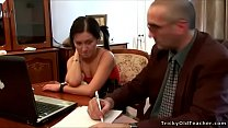 Tricky Old Teacher - Hot pigtailed brunette gets fucked by her old teacher thumbnail