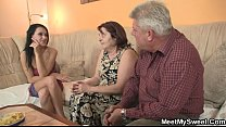 Sex-crazed old parents fuck his girl