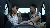 Hot asian sucks and fucks white guy in car and ...