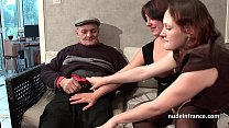 FFM Two french brunette sharing an old man cock...