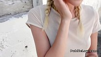 Blonde wanks and bangs in public preview image