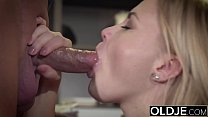 Barely Legal Teen Riding Old Man Cock and Sucking his balls swallows cum - download porn videos