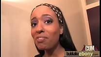 Hot ebony chick in interracial gangbang 1