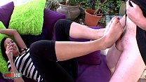 Hot French Milf In Leggings Doing Foot Job