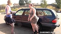 Public bdsm and outdoor lesbian domination of humiliated blonde submissive babe