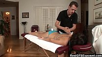 RealGfs – Hot brunette gets wet from oil massage Thumbnail
