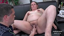 Casting couch of a fat bbw french blonde sodomized and jizzed on tits by her bf صورة