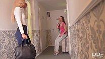Euro lesbians Aisha & Leyla Bentho Fuck hard at Airbnb