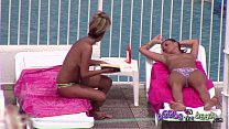 Topless sisters tanned and oiled up with pierce...