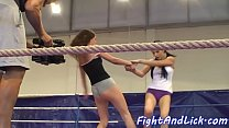 Lesbian teens wrestling in the boxing ring